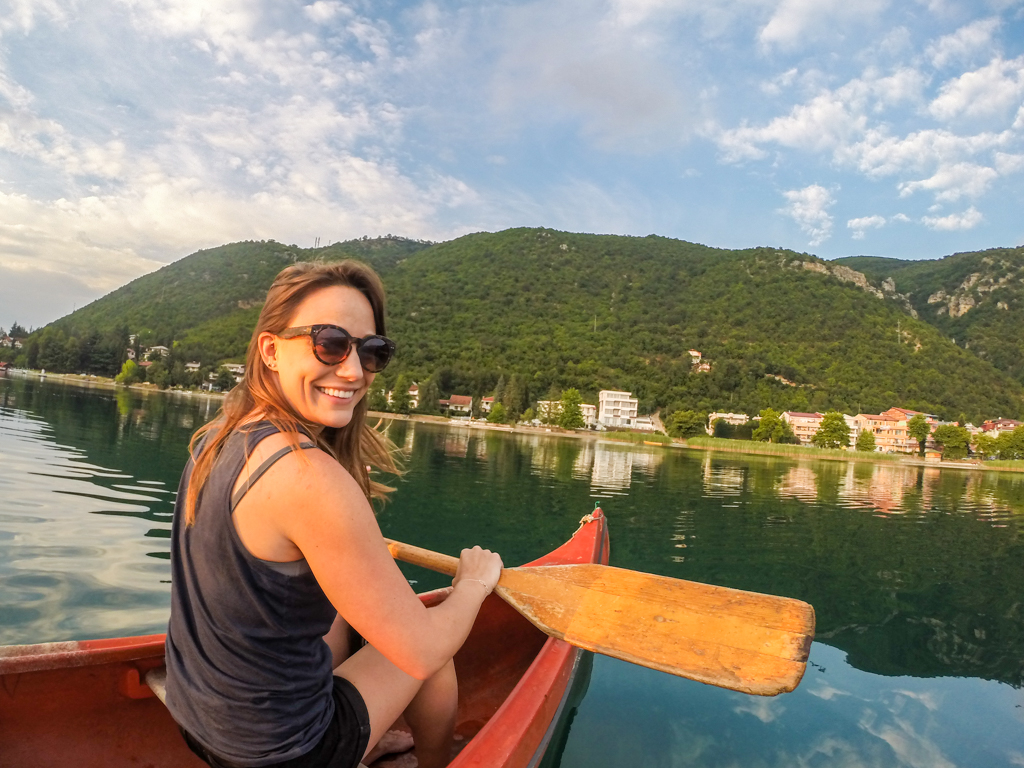 Canoeing on Lake Ohrid, Macedonia