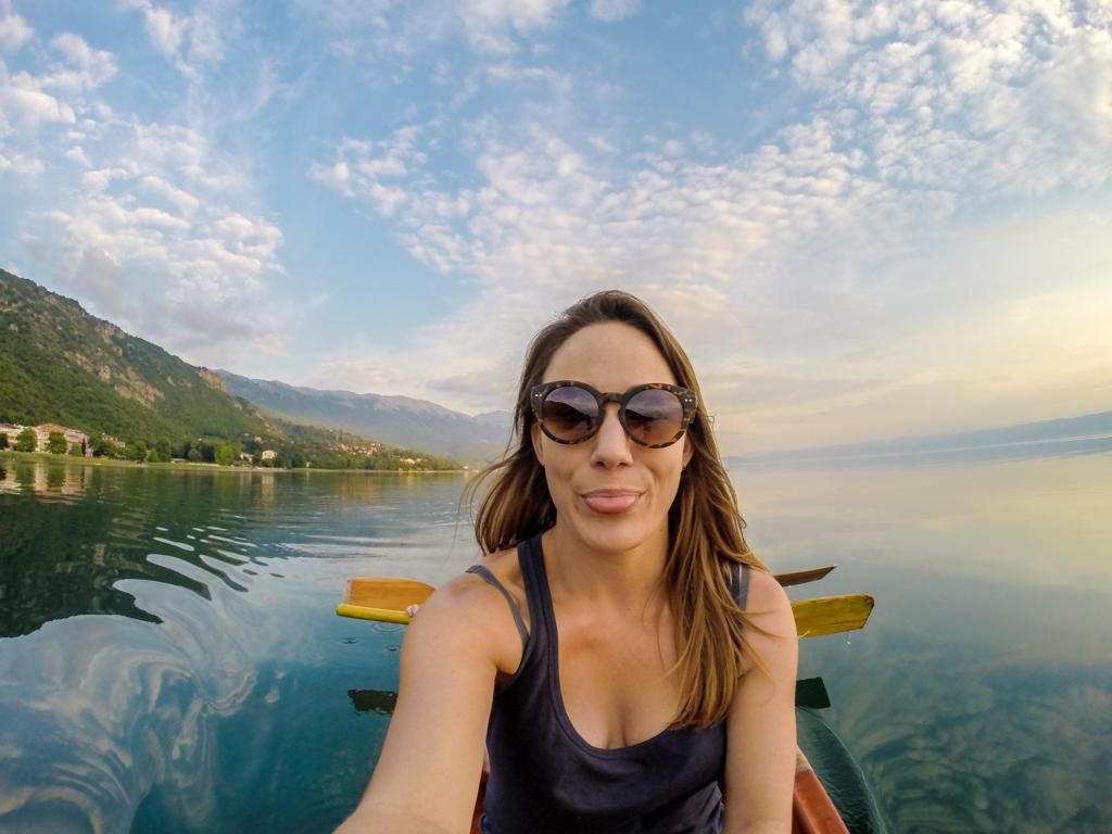Canoeing on Lake Ohrid, Macedonia