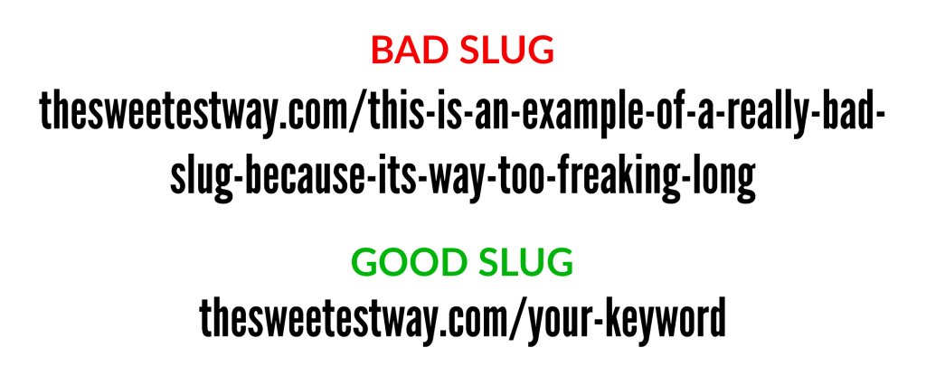Blog post checklist: Bad slug versus good slug