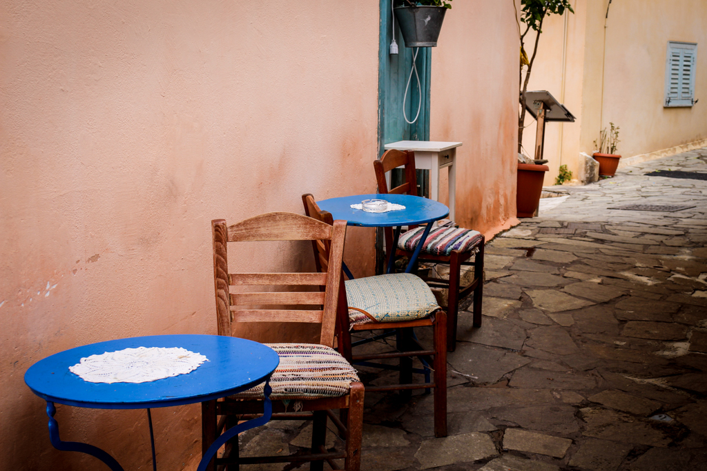 Hidden back alley cafe in Athens, Greece