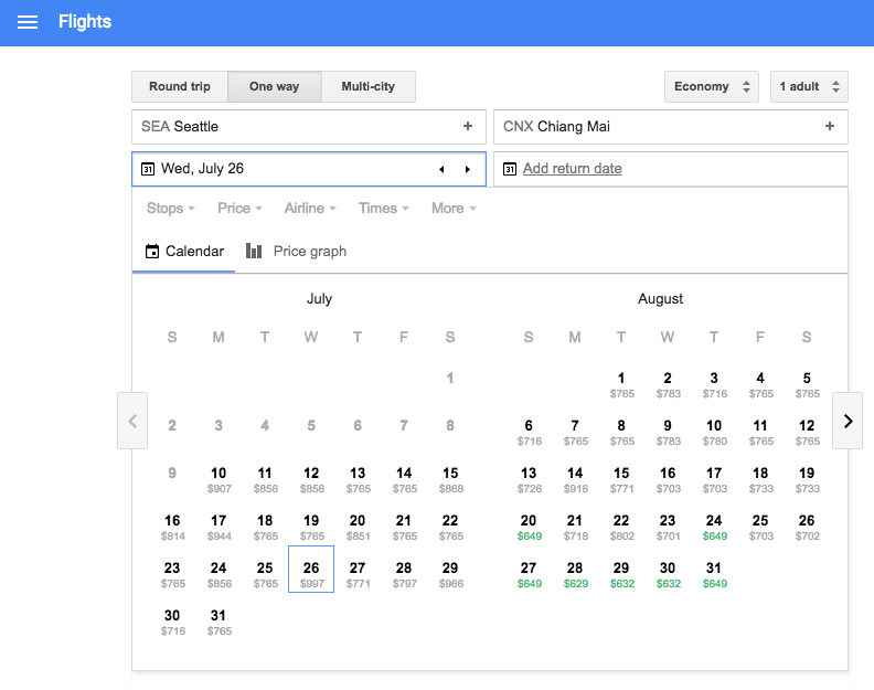 Use Google Flights to find a one-way fare to your new digital nomad home base