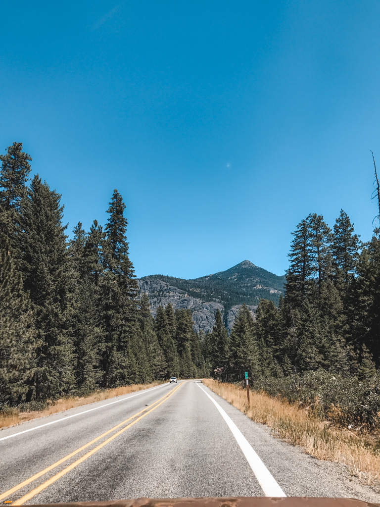 Driving the North Cascades Highway on the way to Winthrop Washington