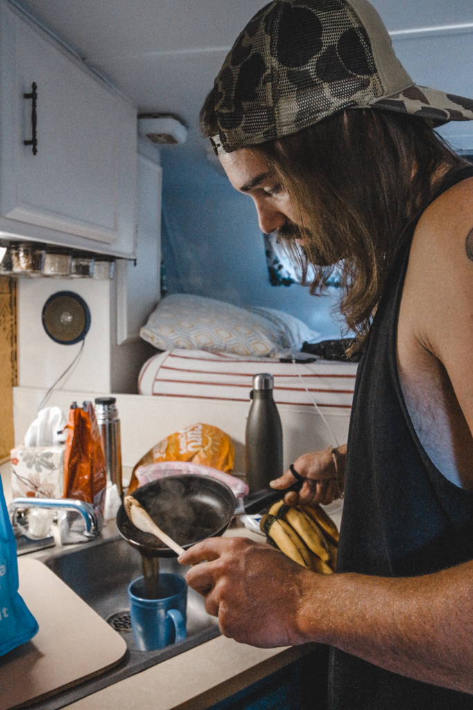 Making coffee in our camper at Klipchuck Campground in Mazama
