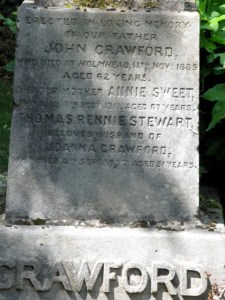 Headstone for Annie Sweet Married to John Crawford, Annie Sweet (1841 - 1911) died after falling into Braidbar Quarry. She fractured her spine but was not found for three days.