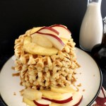 Waffle Stack with Fruit and Caramel Sauce