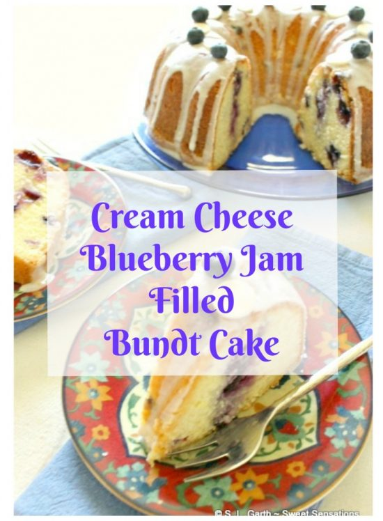 Enjoy this Cream Cheese Blueberry Jam Filled Bundt Cake with a hot beverage or a scoop of vanilla ice cream.