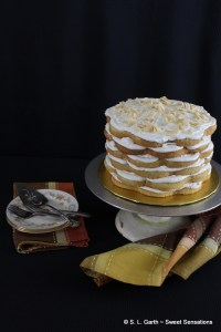 This French Vanilla Cake with Banana Cream Cheese Frosting is moist, fluffy and received a boost in flavor from banana liqueur. You're welcome.