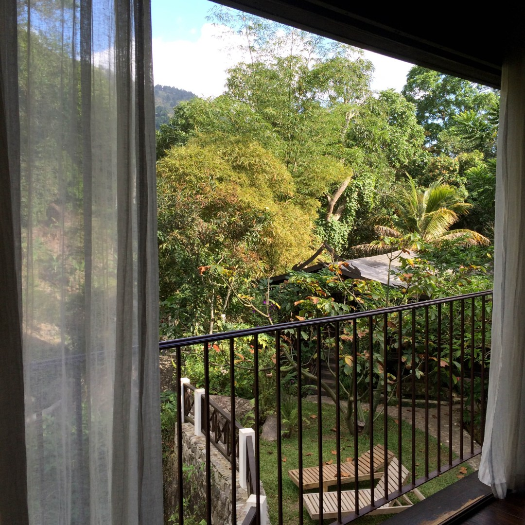 A partial view from the massage parlor at the Spat at Serendipity in Jamaica
