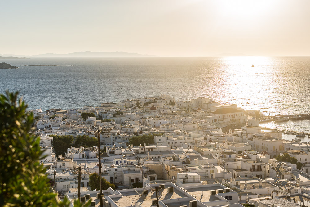 Waiting for the Sunset Above Mykonos Town