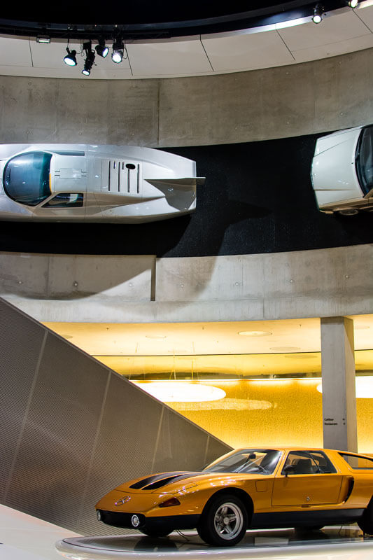 Mercedes Benz Cars Mounted on the Walls of the Museum