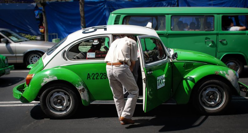 Green VW Taxi in Mexico City