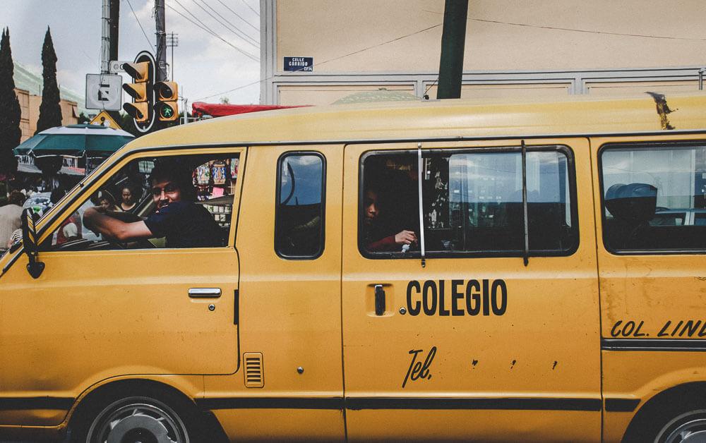 Yellow School Bus in Mexico City