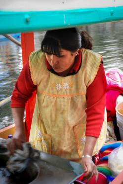 Female Corn Vendor at Xochimilco Mexico