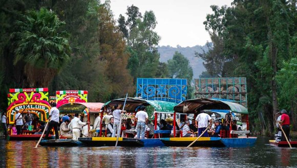 Colourful Boats at Xochimilco Mexico
