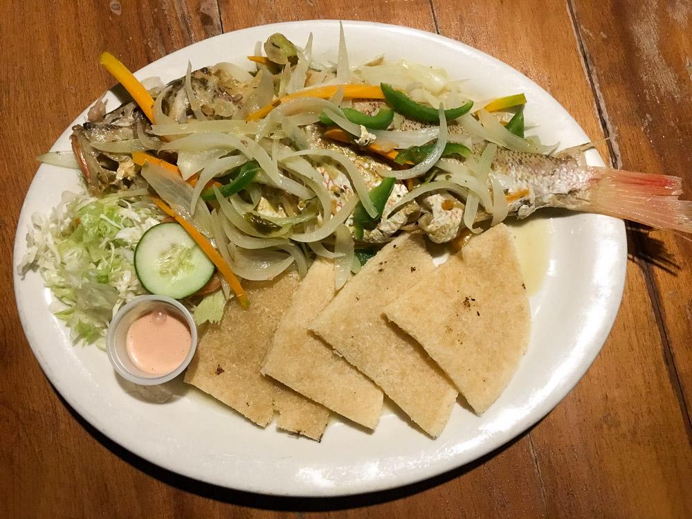 Jamaican steamed fish from Jack Sprat Restaurant