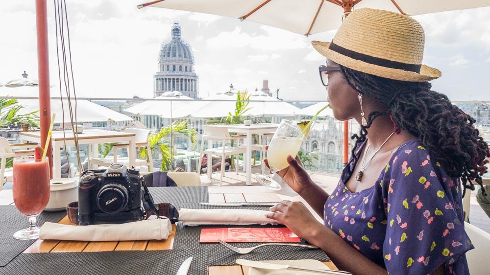 Drinking at the Hotel Manzana Rooftop Bar