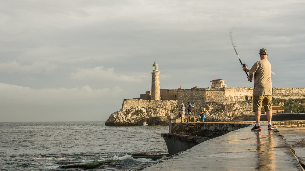 Fishing at the Malecón in Havana Cuba