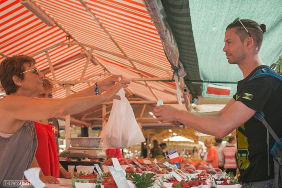 Man Buying Fruits at the Market in Nice
