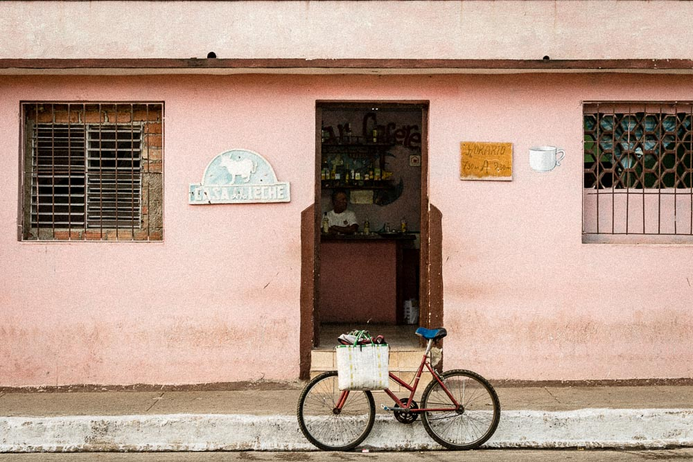Bicycle in front of a shop