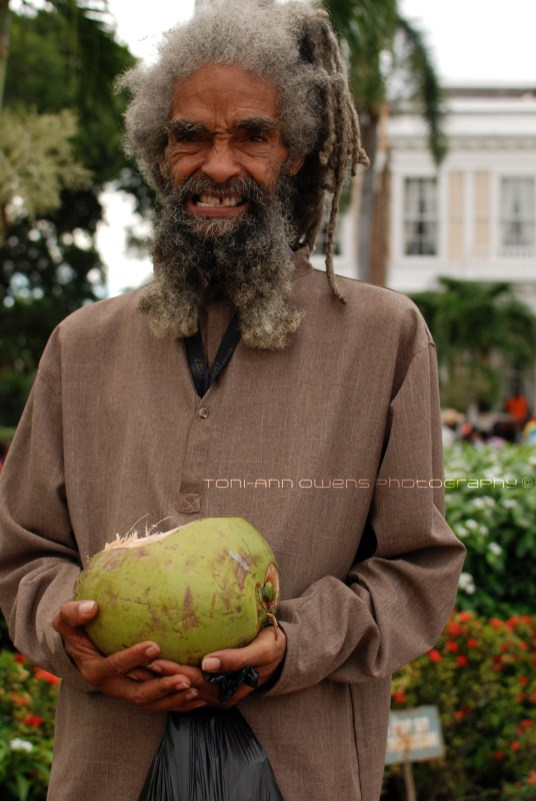 Rasta man with a coconut