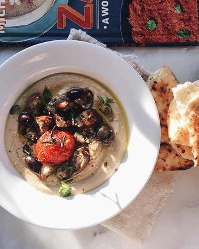 Israeli style hummus with eggplant, tomato, and olives | thetableofcontents.co