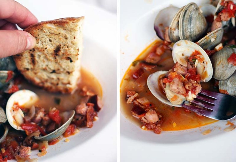 Clams-in-Spicy-Tomato-Andouille-Broth | www.thetableofcontents.co