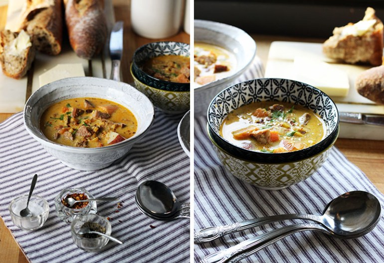 Sweet Potato Corn Chowder with Spicy Sausage | thetableofcontents.co