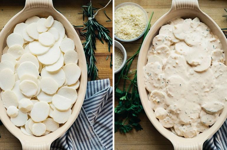 Parmesan Crusted Potato Turnip Gratin   www.thetableofcontents.co
