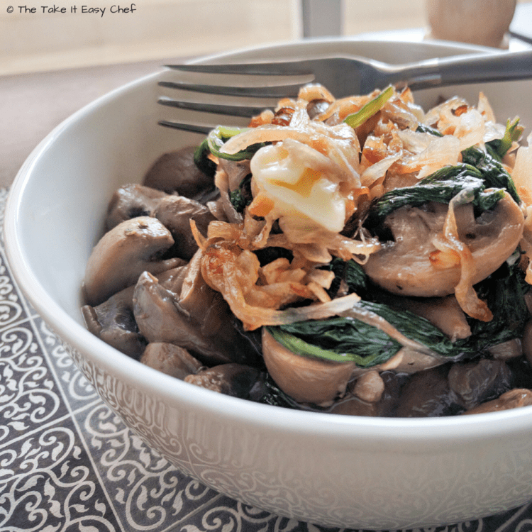 Mushroom and Spinach with Burnt Garlic