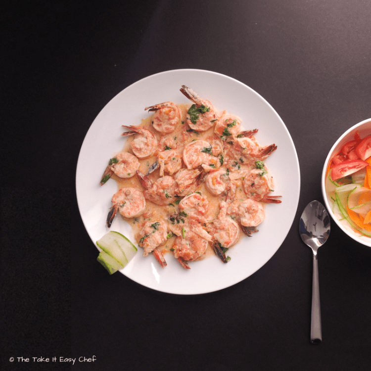 Creamy Ginger Prawns (Shrimp) served with garden salad