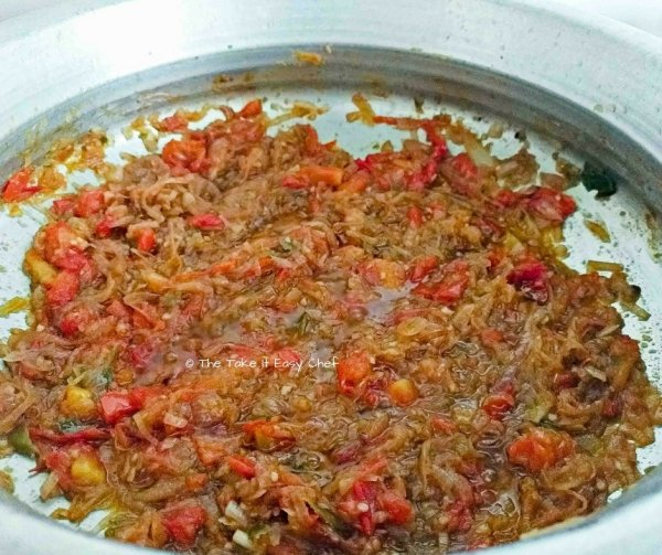 Cooked till tomatoes get mixed well in the masala