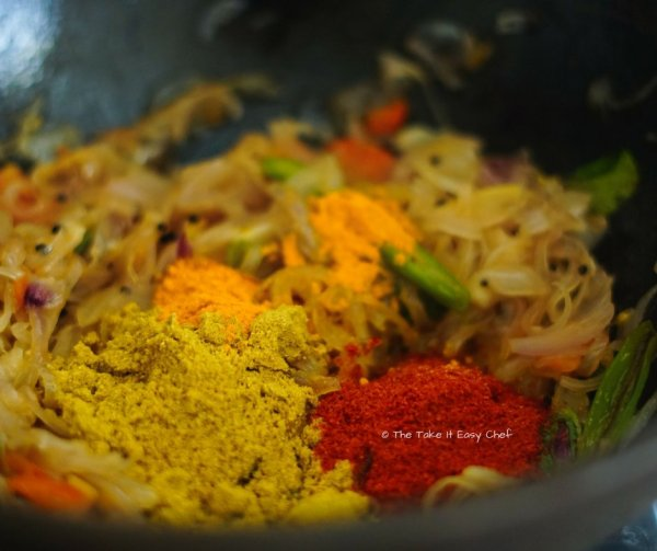 Spices added to the mix for Kerala style Egg curry