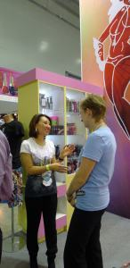 a tanning distributor at Intercharm in Moscow 2012