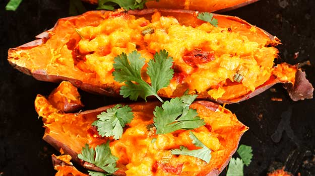 Bacon & Melted Cheese Spicy Sweet Potato Wedges Recipe by Clement Pavie