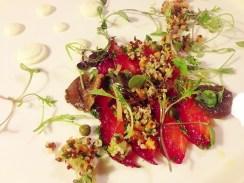 Bettroot Cured Salmon, Grapefruit, Quinoa