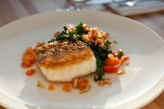 Baked Hake, Cavolo Nero, Tomato & Brown Shrimp Dressing