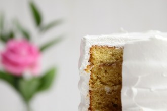 Orange Almond Cake with Rhubarb and Rose Petal Jam by Cove Cake Design