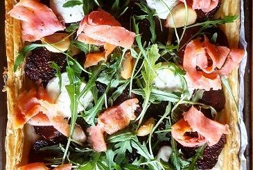 Spiced Beetroot, Goat Cheese and Smoked Trout Tart Recipe by Katia Valadeau