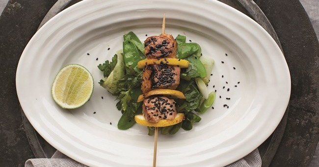 Sesame Salmon Skewers Recipe by Catherine Fulvio