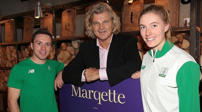 Michael Wright (Centre) at his Marqette restaurant in Dublin airport as he celebrated the first birthday of the restaurant with the help of Olympic Athletes Oliver Dingley and Natalya Coyle who both endorsed Marqette as the go to place to eat for healthy alternatives in Dublin Airport. Employing over 100 local staff the team at Marqette aim to provide the travelling customer with sustainable locally sourced produce straight from the farm to the plate therefore supporting the local economy, the environment and the health of their customers.