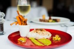 Oven Baked Hake Fillet – Crabmeat Crust, Pea Puree, Mango Salsa, Sweet Potato Fries Ice House Hotel