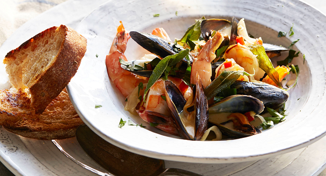 Mussels and Prawns in a Saffron Lemon Cream Sauce with Fried Sage Recipe by California Wines