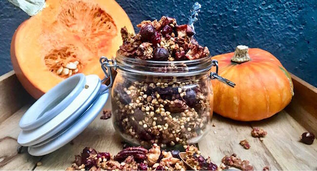 TheTaste Recipe The Food DNA Ultimate Buckwheat Pumpkin Spice Granola Boozy Cranberries