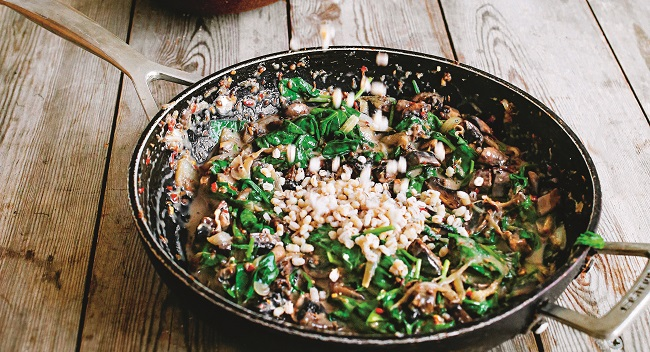 Mushroom and Spinach Spelteree Recipe