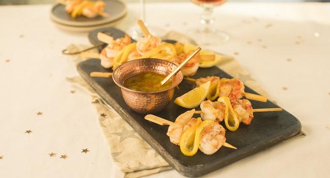 Siúcra & Catherine Fulvio's Mini Prawns Skewers Recipe with Lemon Chilli Dip