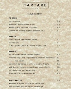 tartare brunch menu
