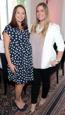Vicky Robinson and Stephanie Lord at the launch of Emirates Holidays in Ireland at Cliff Townhouse Dublin. Pic Brian McEvoy No Repro fee for one use