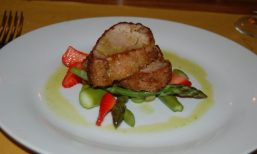 Jim Main of pork with asparagus and berries italy