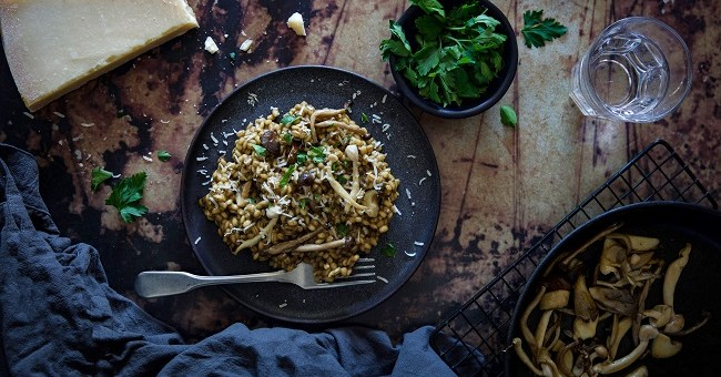 Wild Mushroom Barley Risotto Recipe By Monika Coghlan