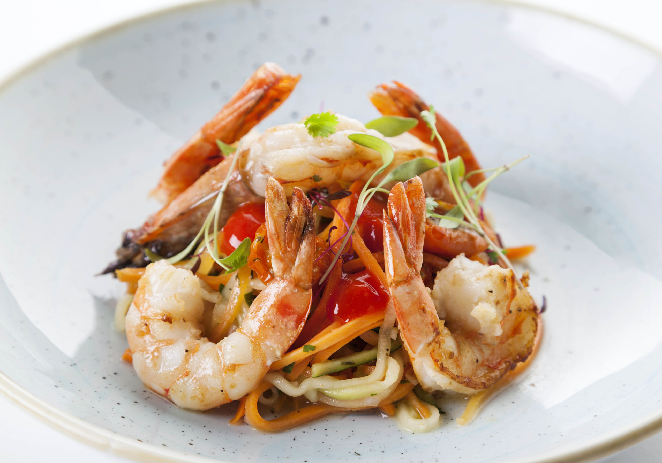 Zucchini & carrot salad with red prawns and lemon vinaigrette Recipe by Chef Igor Cikarev of The Gibson Hotel